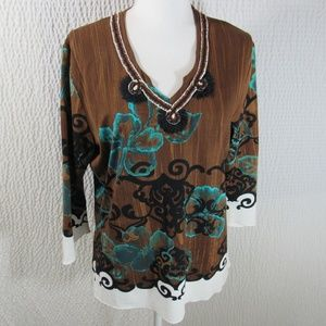 Biba Vneck Shirt Top L Brown Teal Blue 3/4 Knit